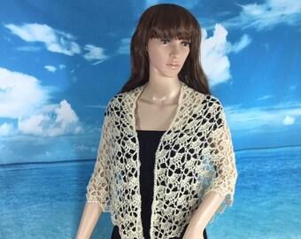 Elegant handmade crochet shawl silk/merino wool/ kid mohair blend crocheted with Swarovski crystal accents