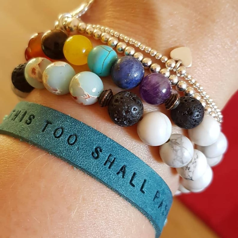 This Too Shall Pass Leather Mantra Band  Mantra Bracelet image 0