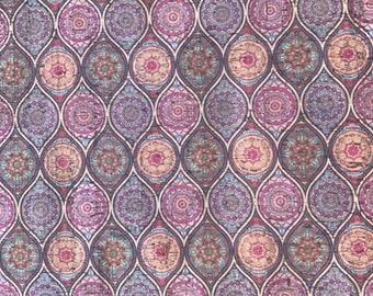 Cork Fabric -Mandala Print Cork - EcoFriendly - Made in Portugal