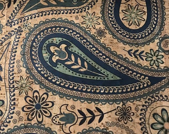 Cork Fabric - Blue Paisley Print Cork - Updated Design - EcoFriendly - Made in Portugal