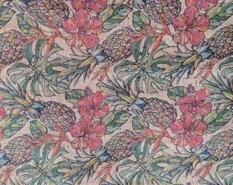 Cork Fabric - Pineapple Print Cork - EcoFriendly - Made in Portugal