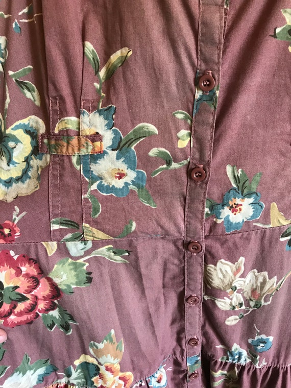 Vintage 1970's Foxy Lady Mauve Button Up Floral M… - image 3