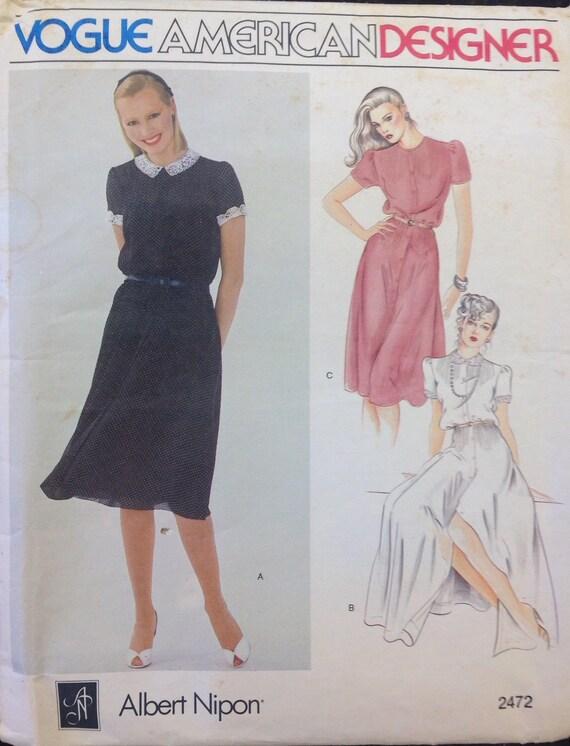 Patrón de costura diseño Vintage de Albert Nipon Vestido de   Etsy