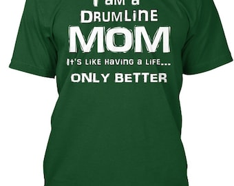 f41006d3 Drum Line Mom Life - White Lettering - Hanes Tagless Tee