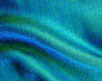 Sea blue diamond twill silk fabric, handwoven blue and green silk fabric, Viking clothing, Vendel clothing, historical costumes