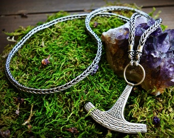Silver Viking necklace, Thor's hammer necklace, warrior necklace, Viking jewellery