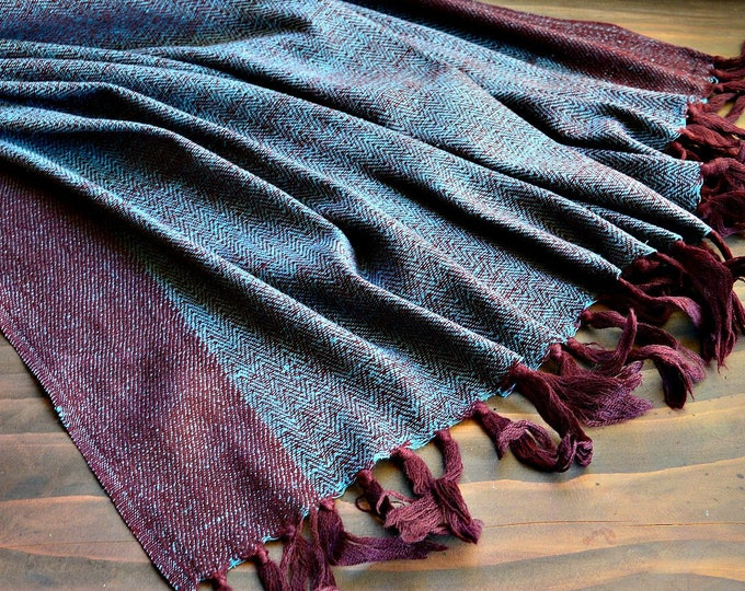Large wool and silk shawl, reversible, blue and burgundy handwoven shawl, Vikings, Viking clothing, Vendel clothing