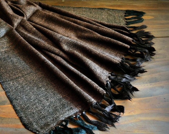 Large wool and silk shawl, dark brown handwoven shawl, reversible, Vikings, Viking clothing, Vendel clothing
