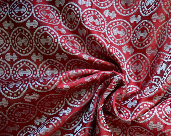 Red and silver silk brocade fabric, double-axe silk, Moschevaya Balka silk