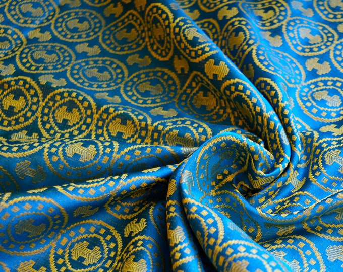 Blue and yellow double-axe silk fabric, Moschevaya Balka silk, historical brocade silk, historical clothing, natural silk fabric