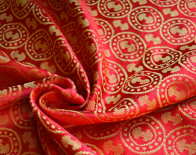 Orange and gold double-axe silk fabric, Moschevaya Balka silk, 100% natural silk for historical costumes, Viking clothing