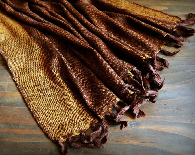 Large wool and silk shawl, brown handwoven shawl, reversible, Vikings, Viking clothing, Vendel clothing