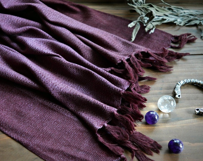 Large wool and silk shawl, reversible, purple handwoven shawl, Vikings, Viking clothing, Vendel clothing
