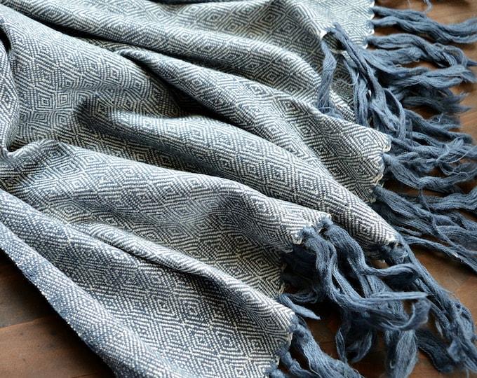 Diamond twill wool and silk shawl, large greyish blue herringbone shawl, handwoven shawl, Vikings, Viking clothing, Vendel clothing,