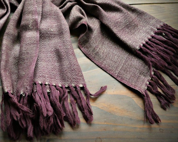 Handwoven wool and silk shawl, diamond twill silk scarf, Vikings, diamond weave scarf, Viking clothing, Vendel clothing