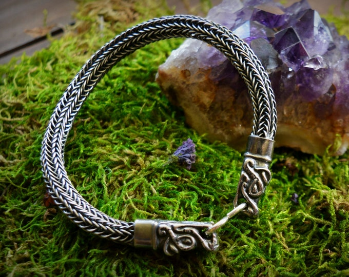 Silver Viking dragon head bracelet, Viking arm ring, Viking knitting, Viking jewellery