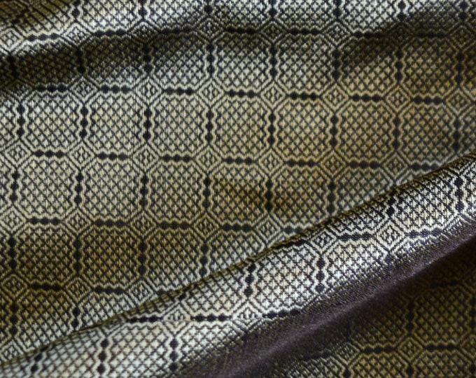 SALE! Birka silk for Vikings, Brown and gold natural silk fabric handwoven natural silk, Viking clothing, fabric for reenactors