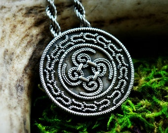 Round silver Viking pendant from Denmark, shield pendant, historical jewellery, granulation