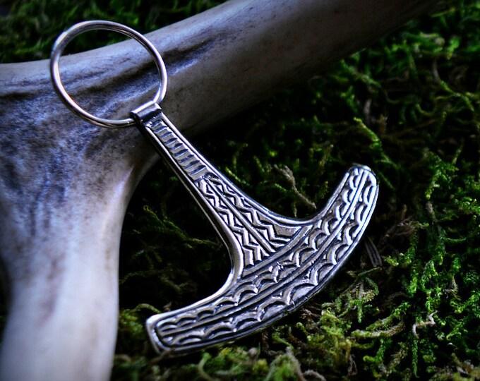 Viking Thors hammer, Ukonvasara, Large silver Thors hammer pendant, historical jewelry replica, Finnish Ukko's hammer