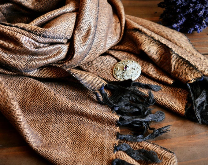 Brown wool and silk shawl, handwoven diamond twill silk scarf, Vikings, diamond weave scarf, Viking clothing, Vendel clothing