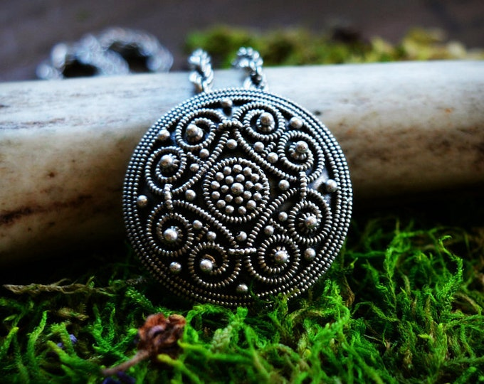 Round silver Viking pendant, shield pendant, historical jewellery, granulation