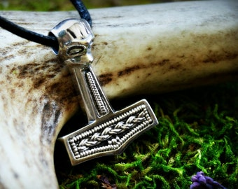 Silver Thors hammer pendant from Mandemark, Denmark, historical jewelry replica, pagan jewellery