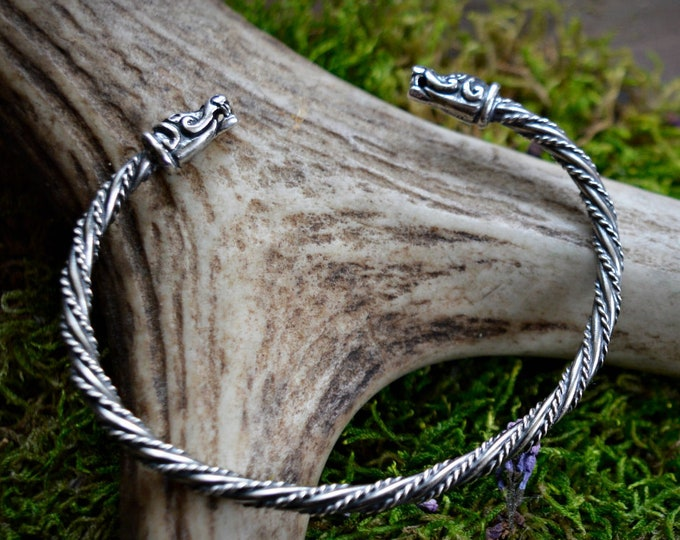 Viking bracelet, Silver Viking dragonhead bracelet, Viking arm ring, Vikings, Viking jewellery, pagan jewelry
