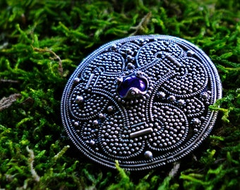 Large round Viking brooch from Gnezdovo, with granulation and amethyst, Viking jewellery