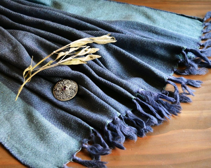 Large wool and silk shawl, reversible, blue handwoven shawl, Vikings, Viking clothing, Vendel clothing