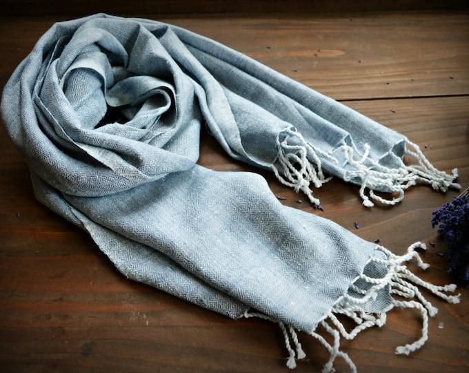 Gray Diamond twill silk shawl, hand woven , 100% natural silk scarf for reenactors, Viking shawl, veil, Vendel period, Viking