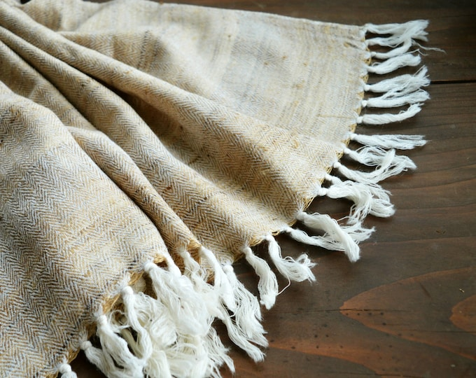 Large beige handwoven silk and wool shawl, herringbone shawl, Viking clothing, Vendel clothing