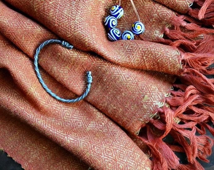 large and warm handwoven diamond twill shawl, orange wool and silk shawl, Vikings, Viking shawl, reenactment, reenactors, Anglo Saxon