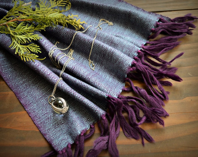 Blue and purple wool and silk shawl, handwoven diamond twill silk scarf, Vikings, diamond weave scarf, Viking clothing, Vendel clothing