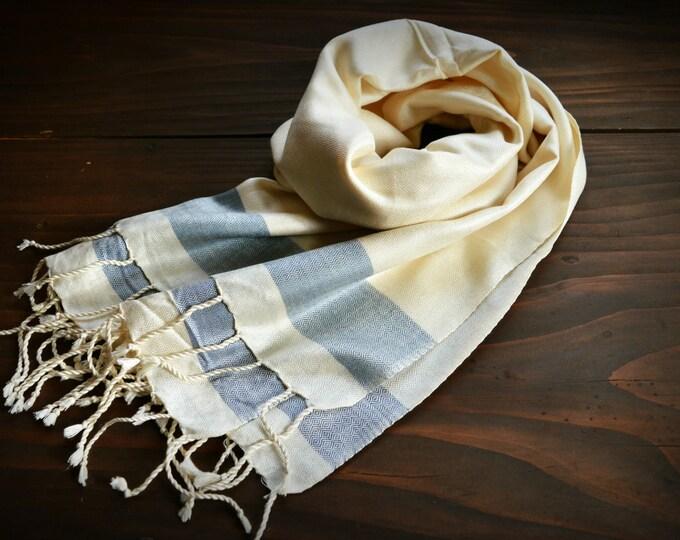Natural silk diamond twill shawl, hand woven natural silk shawl ecru with grey stripe, Vikings, Viking shawl, Viking clothing, Vendel