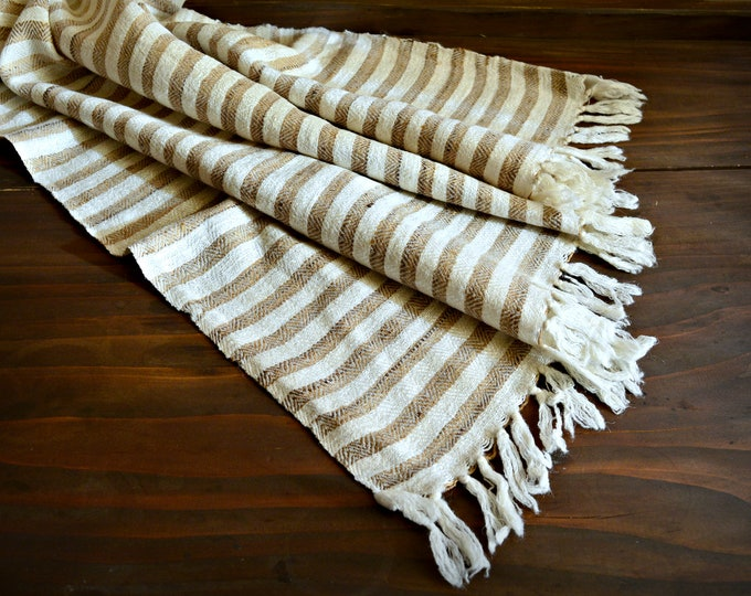 Large wool and silk shawl, white and beige shawl, Viking shawl, stripe shawl, Vikings, Viking clothing, Vendel clothing