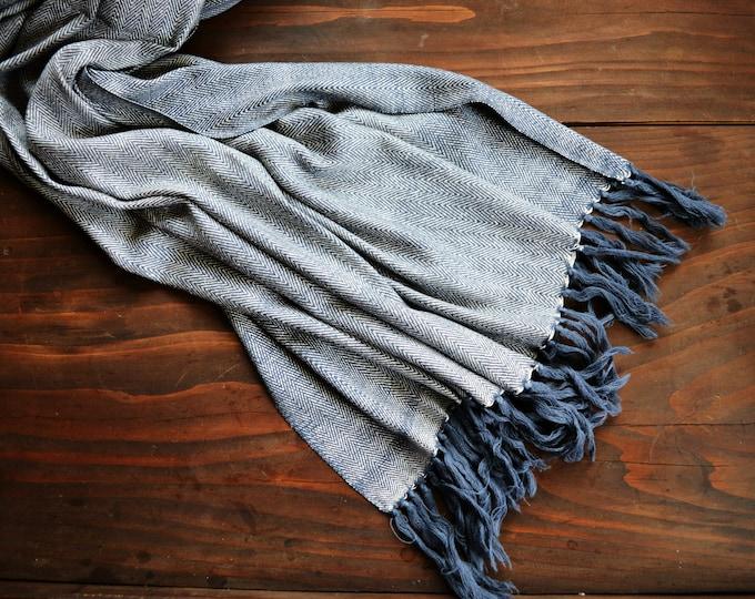 Herrinbone twill shawl, greyish blue wool and silk shawl, handwoven shawl, Vikings, Viking clothing, Vendel clothing, Anglosaxon