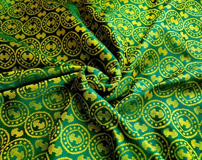 Deep green and yellow brocade silk fabric, double-axe fabric, Moschevaya Balka silk, historicla fabric