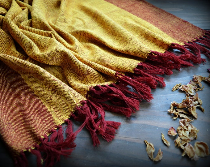 Large handwoven silk and wool shawl, yellow and red herringbone double-sided shawl, Viking clothing, Vendel clothing