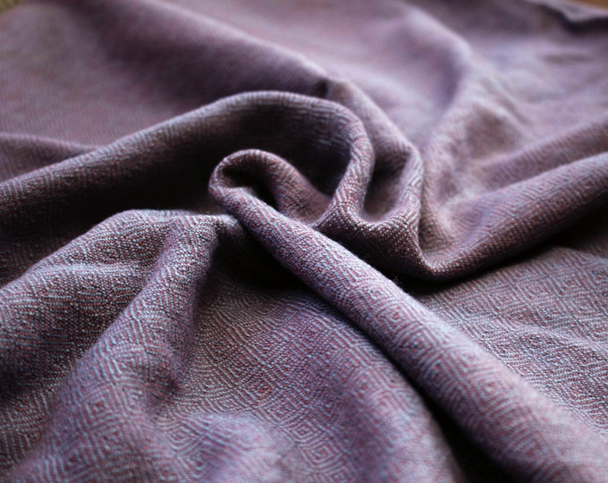 RESERVED! Plant-dyed purple broken diamond twill wool fabric, handwoven natural wool, diamond weave wool, Vikings, Viking clothing