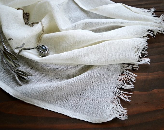 Ecru wool shawl, hand woven  100% natural wool scarf for reenactors, Viking shawl, veil, Vendel period, Vikings