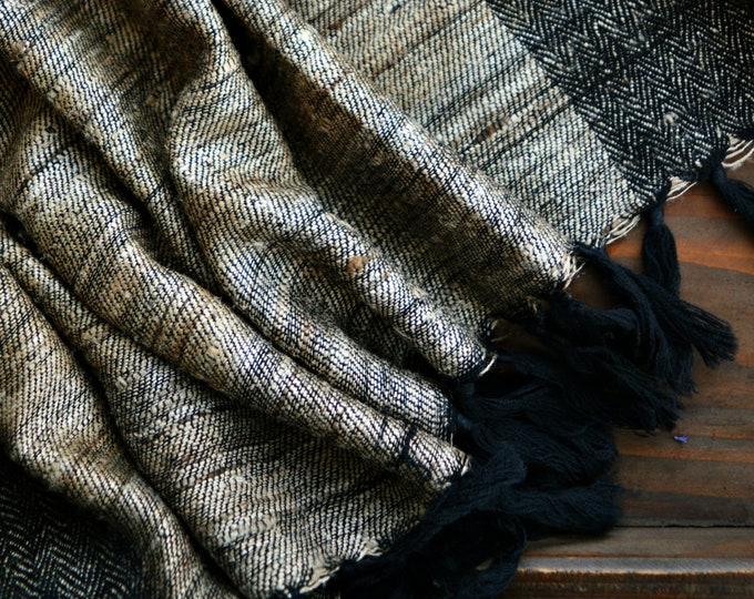 Grey and beige large handwoven wool and silk shawl, double-sided shawl, Vikings, Viking clothing, Vendel clothing