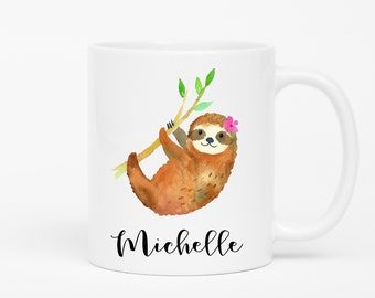 Personalized Sloth Mug, Sloth Gift, Best Friend Gift Personalized Mug, Custom Name Mug, Cute Sloth Coffee Cup, Sloth Gifts For Her