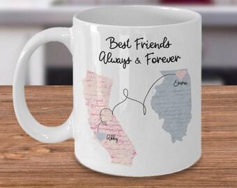 Long Distance Mug, State To State Mug, Best Friends Mug, Friendship Mug, Soul Sisters Mug, Home State Mug, Best Friend Moving Gift
