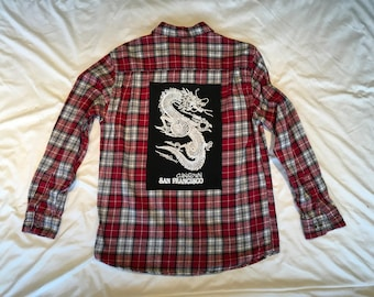 Plaid flannel with dragon china town tee
