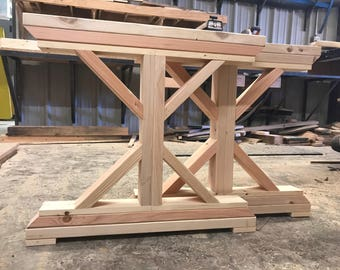 Unfinished Wooden X Base Farmtable Legs. Trestle Wooden Table Legs.  Farmhouse Wood DIY Legs.