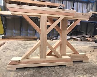 Superb Unfinished Wooden X Base Farmtable Legs. Trestle Wooden Table Legs.  Farmhouse Wood DIY Legs.