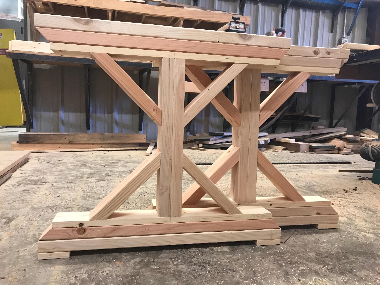 Unfinished wooden X-base farmtable legs. Trestle wooden ...