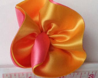 Hair Clip Pink Coral and Orange Ruffle Rose Fabric Flower Satin Ribbon
