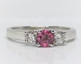 14k White Gold Pink Tourmaline Ring