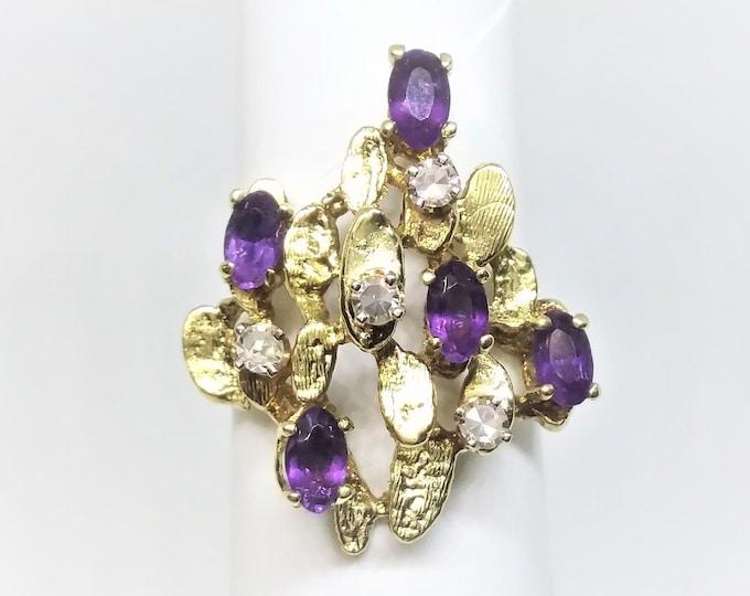 10K Yellow Gold Amethyst Diamond Cocktail Ring